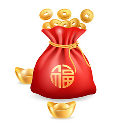 chinese gold ingot golden coins and red bag vector image