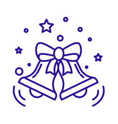 christmas bells with bow ribbon linear icon in vector image