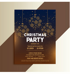christmas festival flyer design with snowflakes vector image