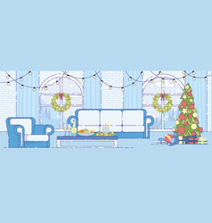 christmas holiday home interior decor flat vector image