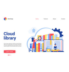 Cloud library cartoon flat vector