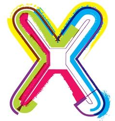 Colorful Grunge font Letter x vector image