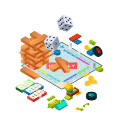 Composition of various boards games isometric vector