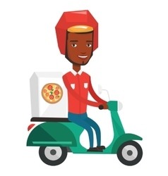 Courier delivering pizza on scooter vector