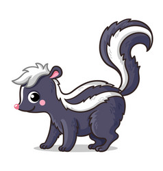 Cute little skunk on a white background in cartoon vector
