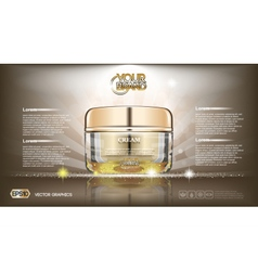 Digital glass face cream brown container vector
