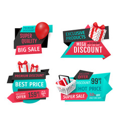 discount labels with promo prices templates vector image