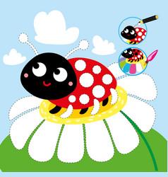 drawing cartoon game tutorial ladybug printable vector image