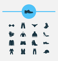 dress icons set with pajamas trousers socks and vector image