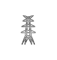electric tower hand drawn sketch icon vector image