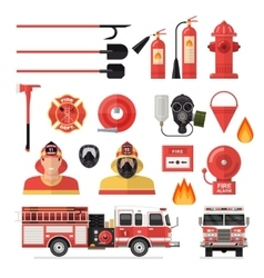 Firefighter Isolated Colored Icon Set vector