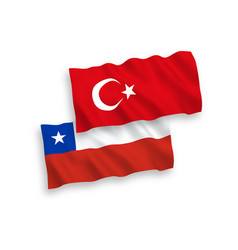 Flags turkey and chile on a white background vector