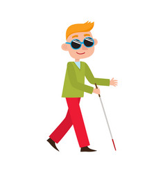 Flat blind disabled man in sunglasses vector