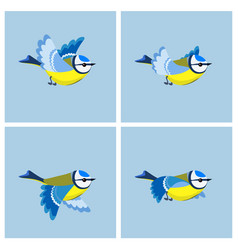 flying blue tit animation sprite sheet vector image