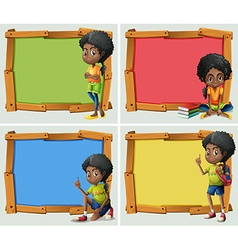 Frame design with African American girl vector image