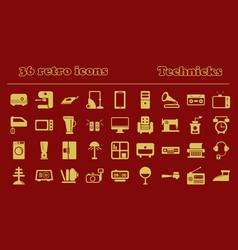 Furniture icons home retro appliances set house vector