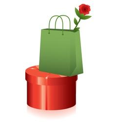 Gift box and shopping bag vector