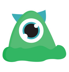 green monster with one eye and blue horns on vector image
