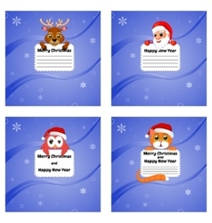 Greeting Cards Happy New Year and Merry Christmas vector image