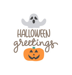 greeting with pumpkin image for halloween vector image