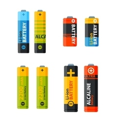 Group of different batteries icons vector image