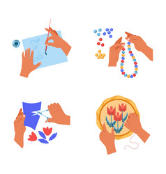 hands handicraft hoband art painting cutting vector image