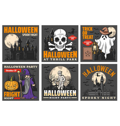 Haunted house with halloween ghost and pumpkins vector