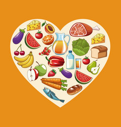 heathy food and heart vector image