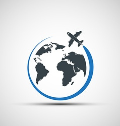 Icons airplane fly around the planet earth vector