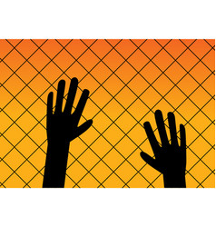 Immigrant background in silhouette style vector