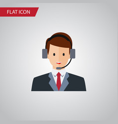 Isolated secretary flat icon hotline vector