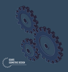 isometric gears on grey background vector image