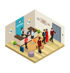 Isometric reception service hotel concept vector