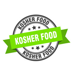 Kosher food label kosher foodround band sign vector