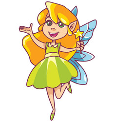 little green fairy on white vector image