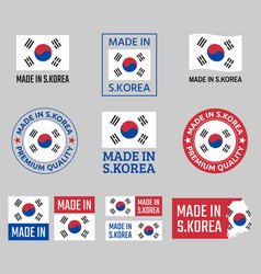 made in south korea icon set republic of korea vector image