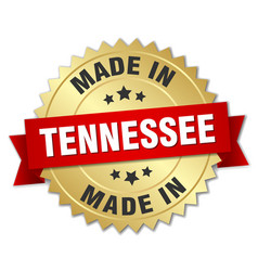 Made in tennessee gold badge with red ribbon vector