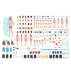 Male surfer or man on vacation creation set or diy vector