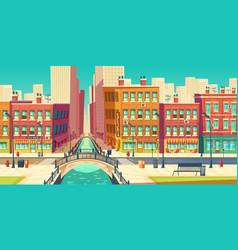 metropolis old district street cartoon vector image