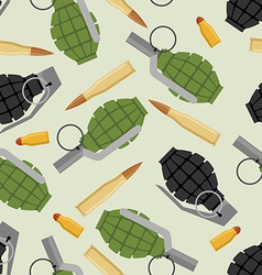 Military ammo seamless pattern Grenade and Ammo vector image