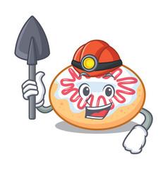 Miner jelly donut mascot cartoon vector