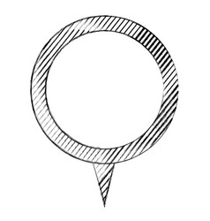 Monochrome sketch of circular speech with tail and vector