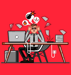 Office worker have a hard day on work vector