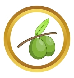 Olive branch with green olives icon vector