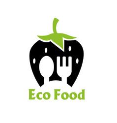on white background logo eco food vector image