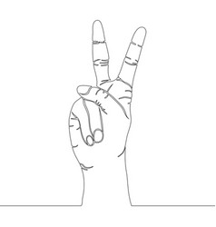 one continuous line drawing gesture peace vector image