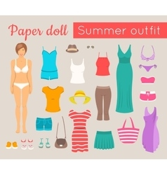 paper doll girl with summer clothes game vector image