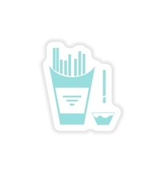 Paper sticker on white background french fries vector