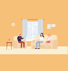 Parents and children joint family psychotherapy vector