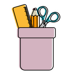 pencil holders with rule and scissors vector image